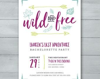 Wild and Free Bachelorette Party Invitation     Arrows, Leaves, Nature Bachelorette Party Invite