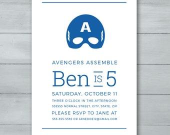 Captain America Birthday Invitation  |  Captain America Invite  |  Superhero Invitation  |  Superhero Invite