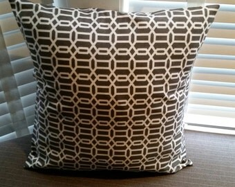 "Taupe/Brown Decorative Pillow Cover 18"" x 18"""