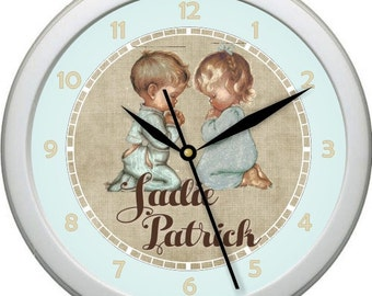 "Personalized Praying Twins 10"" Wall Clock Girl / Girl   Boy / Boy   Girl / Boy twin Nursery Decor Gift Shower Gift"