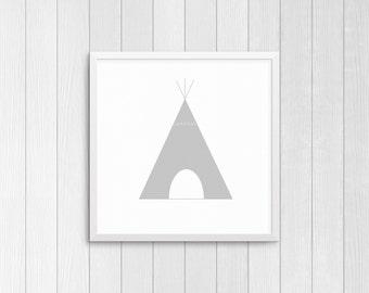 Gray Tipi, square 10x10, 8x8, & 5x5 Art Decor Digital Print