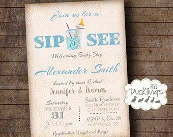 Sip and See Invitation, welcome baby party Invite, Baby boy shower, Printable Digital Invitation A304