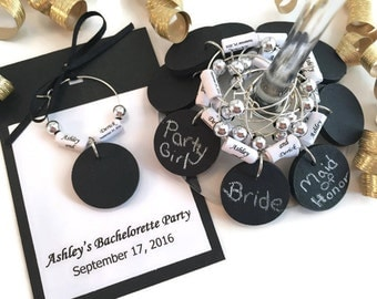 Personalized Bachelorette Party Favors, Bachelorette Party Wine Charm Favors, Chalkboard Wine Glass Charms With Personalized Paper Beads