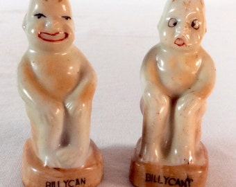 1950s Billy Can & Billy Can't Salt and Pepper Shakers