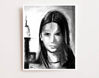 Charcoal drawing, Resolve - Fine art Giclee print, charcoal drawing, Wall art, home decor, sketch, chic, modern art, trendy