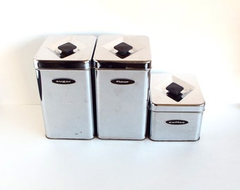 Vintage Chrome Canette Canisters  - Flour, Sugar, Coffee