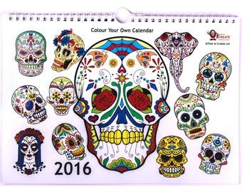 Sugar Skulls 2016 Calendar to Colour in yourself.