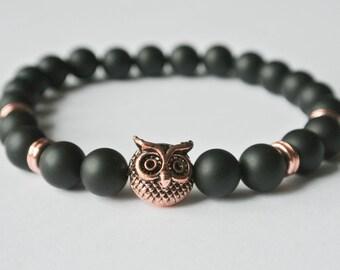 OWL Bracelet UHU ' DRAKE ' Gemstone Owl onyx bracelet Bracelet Silver Buddha Onyx matt pearl ovo