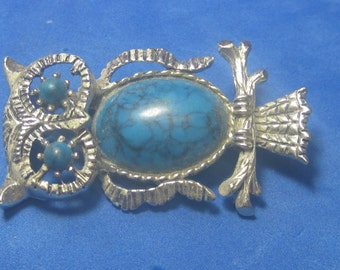 VINTAGE Antique Brooch  Owl with  Turquoise Jewel