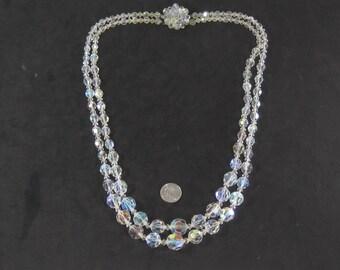 "Vintage White Gemstone Multi Strand Necklace 24"""