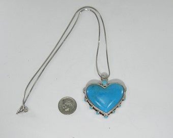 Turquoise Heart Necklace and Pendant