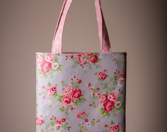 Tote bag/book bag madefrom Cath Kidston oilcloth in Spray Flowers Blue, 19x16 inches