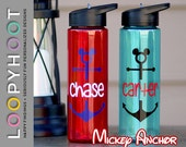 Personalized 24 oz Flip top Water Bottle--MICKEY ANCHOR