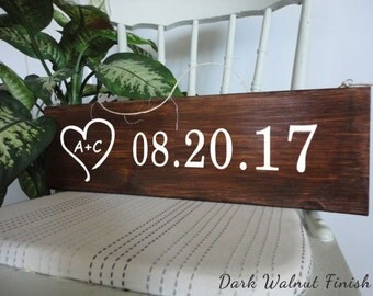 Save the date Wood Sign - Bridal shower Vintage prop initials rustic wedding or engagement announcement