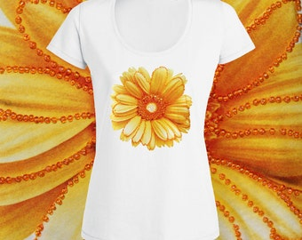 Women's Ladie's White Cotton Sunflower T Shirt Casual Tops Beads Blouse