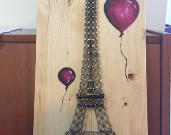 String art Eiffel Tower with Balloons