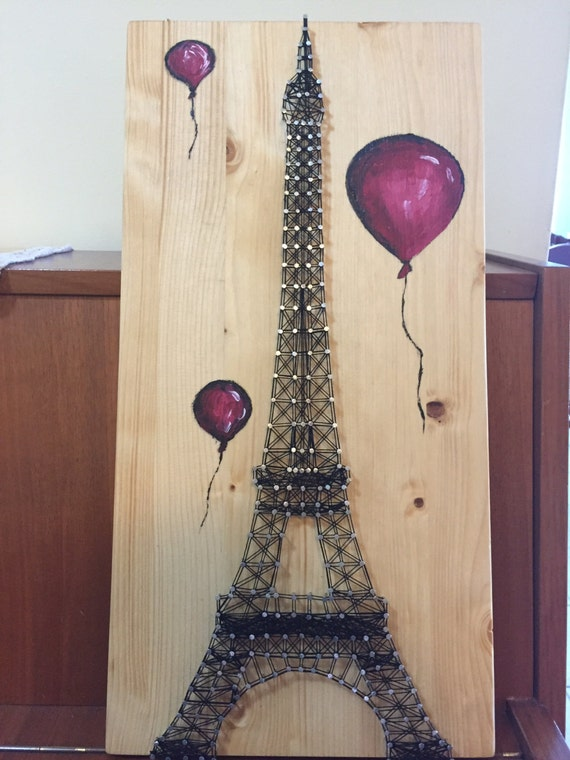 string art eiffel tower with balloons by anitasstring on etsy. Black Bedroom Furniture Sets. Home Design Ideas