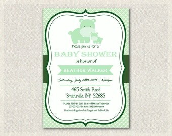 Baby shower invitation hippo theme green  Baby Invite gender neutral boy girl printable invitation custom personalized card BS-163