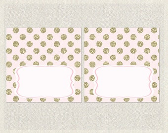 Glitter Buffet Food Tent Cards Gold Pink Printable Buffet Labels Girl Baby Shower BS-103