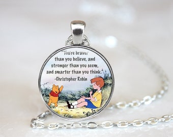 Winnie the Pooh Quote Glass Pendant, Christopher Robin Quote Glass Necklace, Photo Glass Keychain