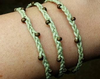 Braided Wrap Bracelet Tan cord with Brown beads, boho style jewelry, Beaded wrap bracelet - Handmade - adjustable