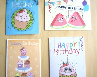 birthday greeting cards, holiday card, cupcakes card, watermelons card
