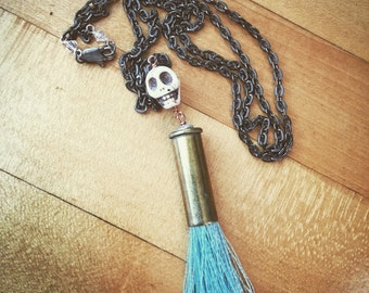 38 Special Tassel Necklace with Howlite Skull