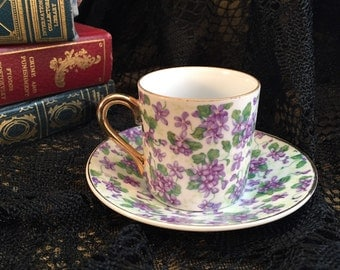Tea Cup With Saucer, Antique Tea Cup Set Hand Painted With Purple Violets Marked E-893, Teacup Demitasse Espresso Set, Item 250562177