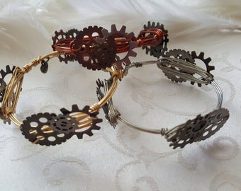 Steampunk Wire Wrapped Bangle