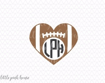 Football SVG, Football Heart svg, football monogram, monogram svg, sports svg, silhouette files, svg designs, svg files, silhouette svg, dxf