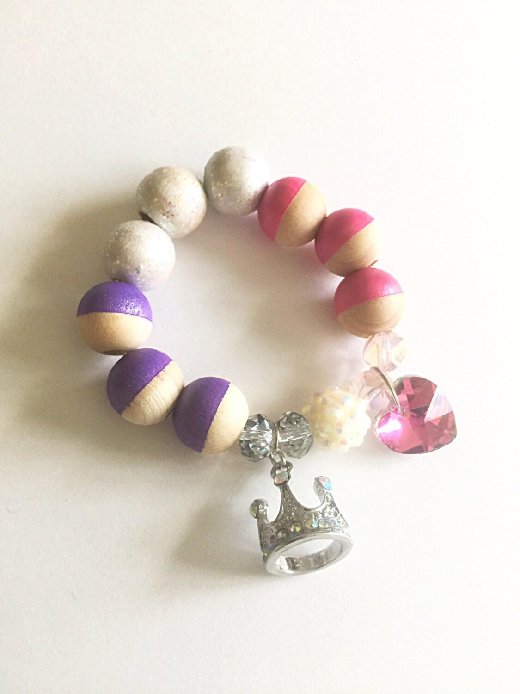 Princess crown charm bracelet/ Childrens by AgapijaDesigns ...