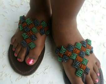 leather sandals, beaded, maasai sandals, gift for women, african