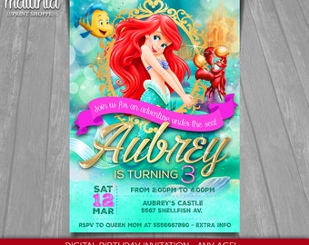 Little Mermaid Invitation - Disney Ariel Invite - Little Mermaid Birthday Invitation - Disney Princess Ariel Birthday Party