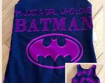 Handmade Size 2 Girl Who Loves Batman Short Romper/Overalls