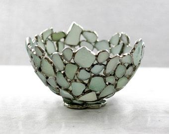 Sea Glass Bowl , Seafoam Blue Beach Glass Bowl, Sea Glass Art , Stained Glass