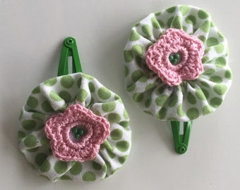 Green and pink hair clip