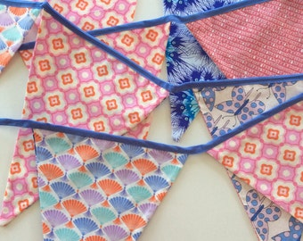Orange, pink and blue bunting
