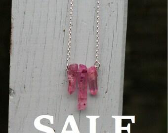 Pink crystal quartz necklace **SALE**