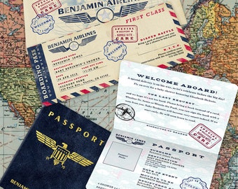 Vintage Aviation Theme Party Invitation