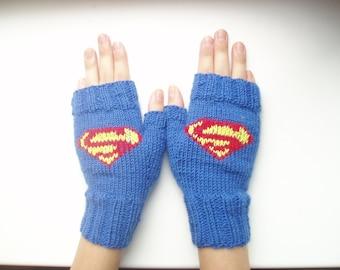 SALE! Knitted mittens /Superman / Fingerless gloves/Hand knit gloves/Hand Warmers/Wool knit mittens/Mittens toddler