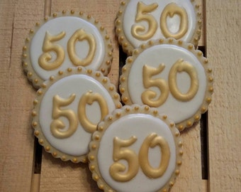 Gold 50th Anniversary cookies with hearts
