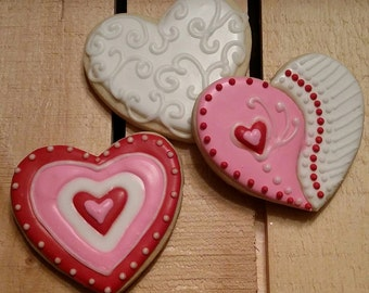 Fancy Valentine's Heart Cookies - One Dozen