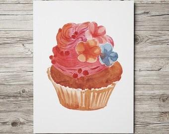 Kitchen print Cupcake art Watercolor poster Food print ACW612