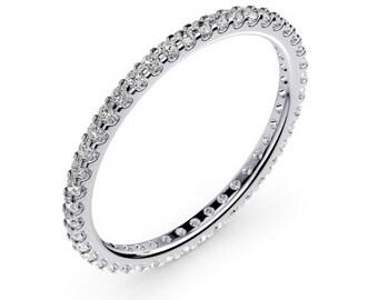 18K White Gold Diamond Eternity Wedding Band For Women 0.44 Carats G / VS2 Shared Prong Set  Anniversary band