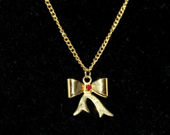 Bow Necklace With Garnet Stone Center 120