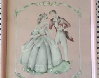 C.1942~Hand Colored~Romantic Couple~Beautytone Art