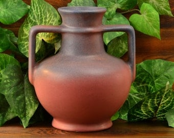 Muncie Pottery Vase,1930 Blue over Pink Greek Jug #181-7 1/2