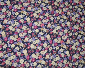 Rose and Hubble Chelsea Fabric 4 metres Floral navy background