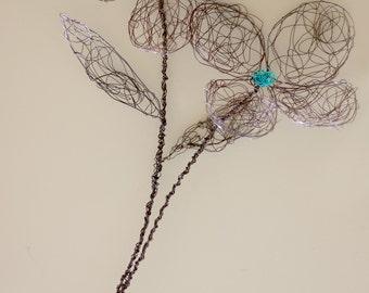 Wire flower sculpture / wall art / gift for her/girls/teens