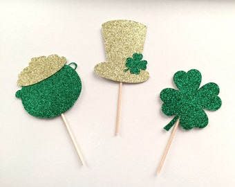 Glitter St Patrick's Day Cupcake Toppers